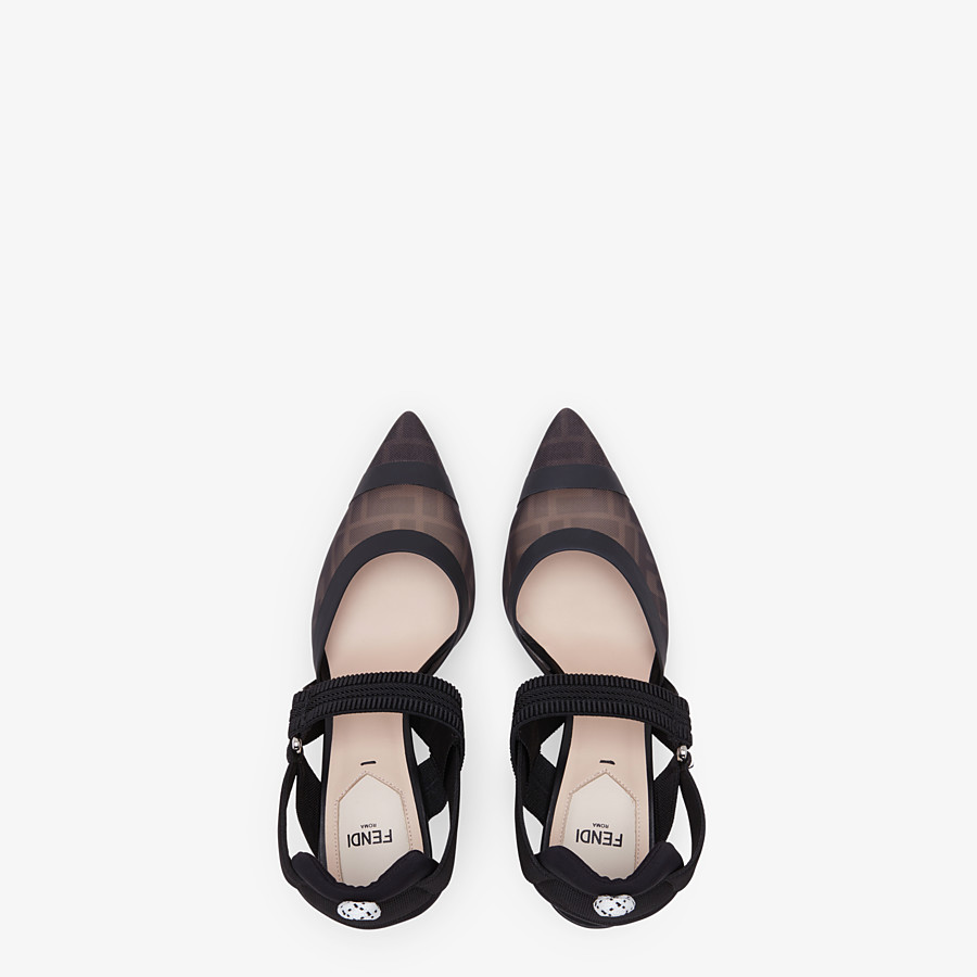 FENDI SLINGBACKS - Colibrì in mesh and black leather - view 4 detail