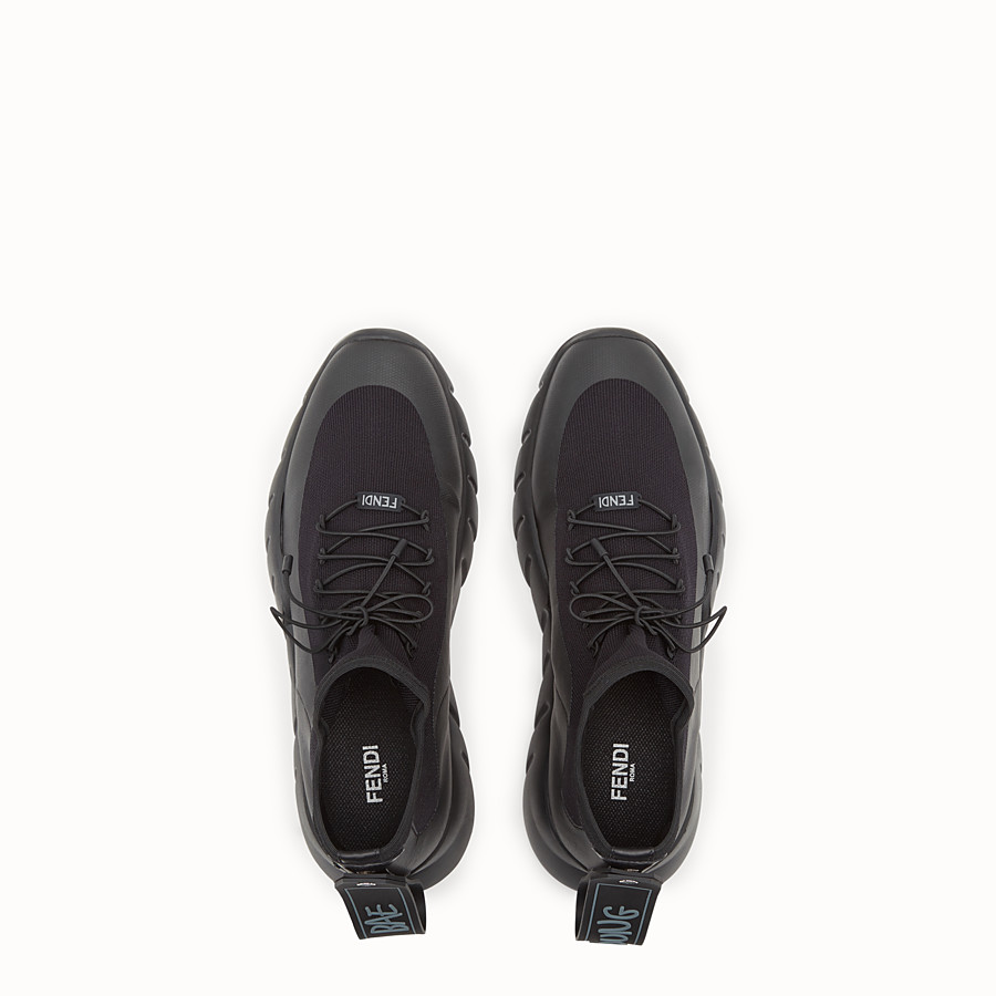FENDI SNEAKERS - Black knitted sneakers - view 4 detail