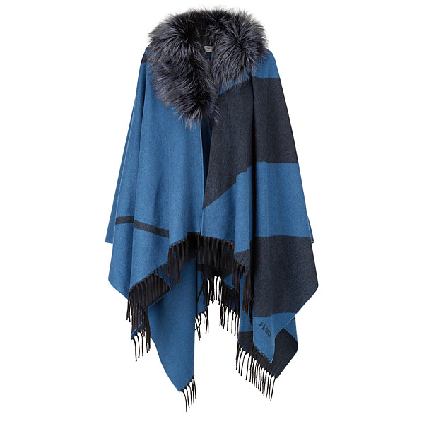 FENDI PONCHO - in cashmere and wool with fur - view 1 small thumbnail