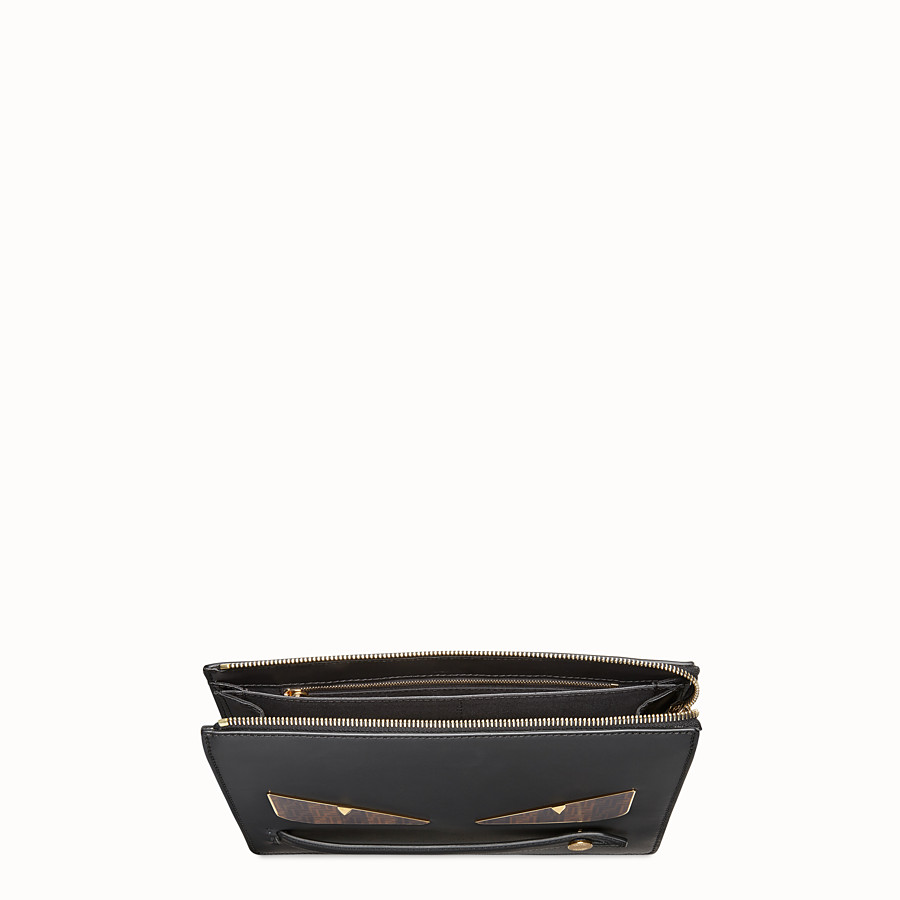 FENDI CLUTCH - Black leather slim pouch - view 4 detail