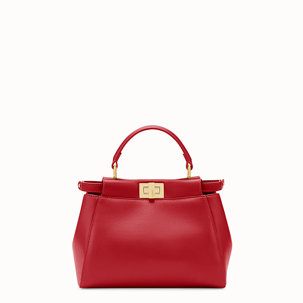 FENDI PEEKABOO MINI - Tasche aus Leder in Rot - view 1 small thumbnail