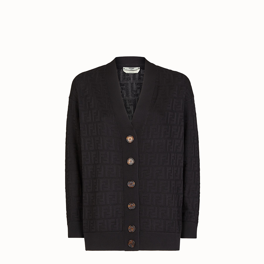 FENDI CARDIGAN - Black viscose and cotton cardigan - view 1 detail