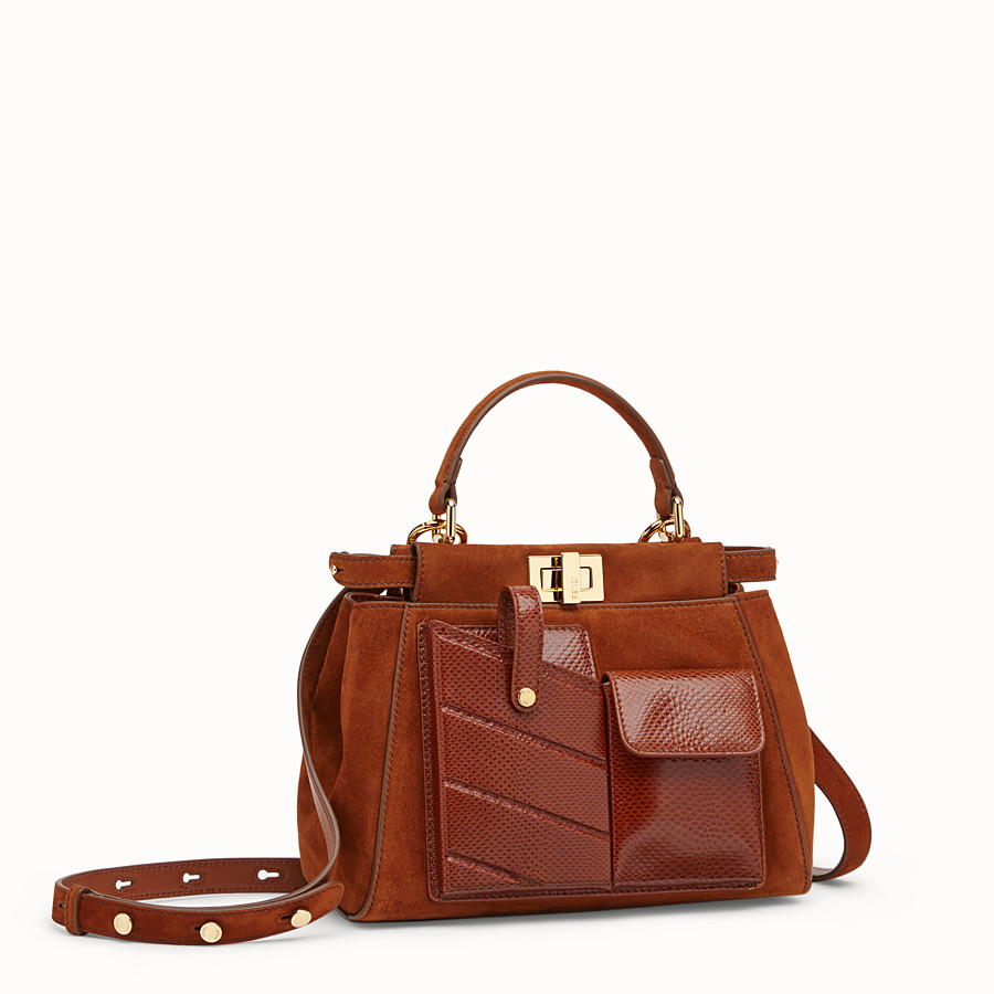FENDI PEEKABOO ICONIC MINI - Borsa in suede marrone ed esotico - vista 2 dettaglio