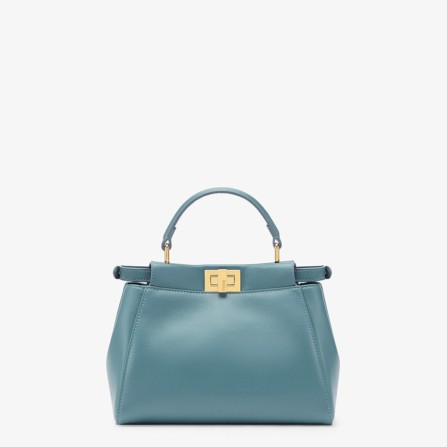 FENDI PEEKABOO ICONIC MINI - Pale blue leather bag - view 3 detail