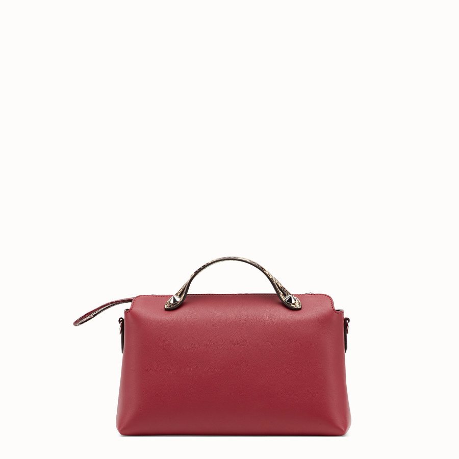 FENDI BY THE WAY REGULAR - Red leather Boston bag with exotic details - view 3 detail
