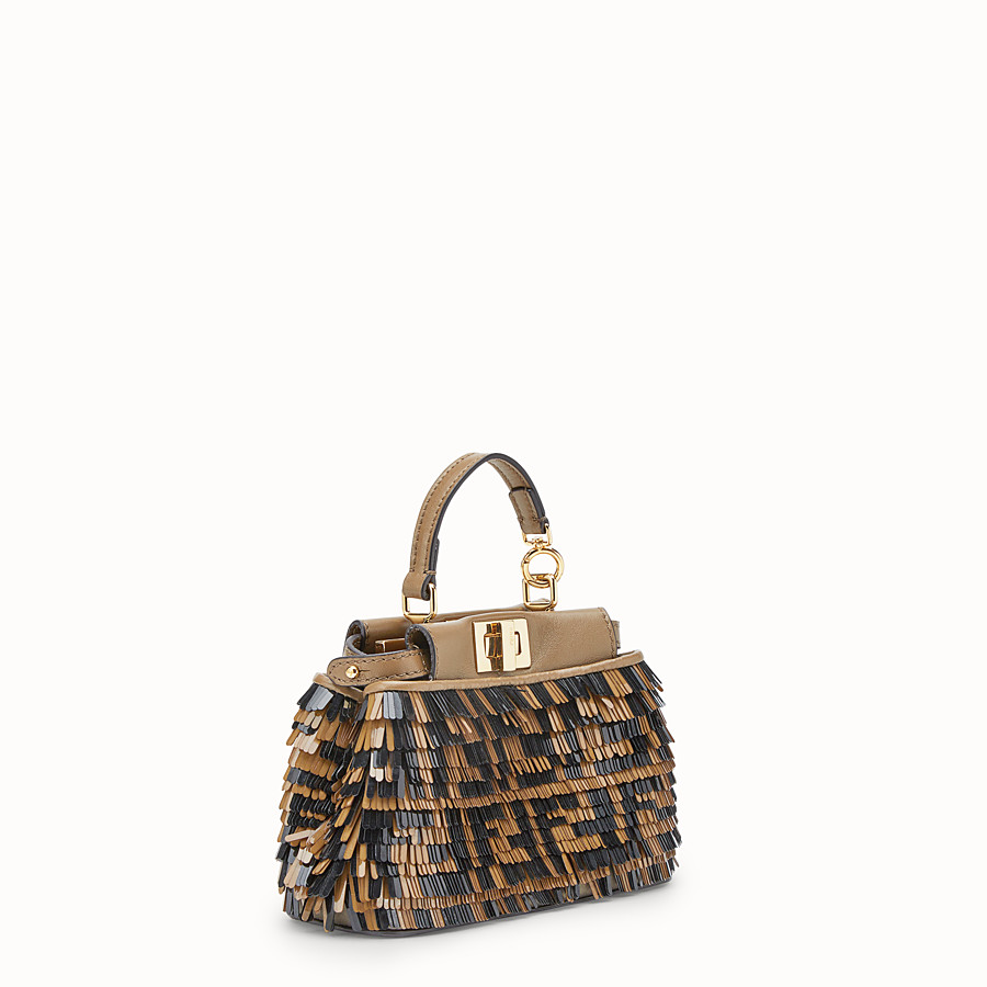 FENDI MICRO PEEKABOO - Beige leather micro-bag - view 2 detail