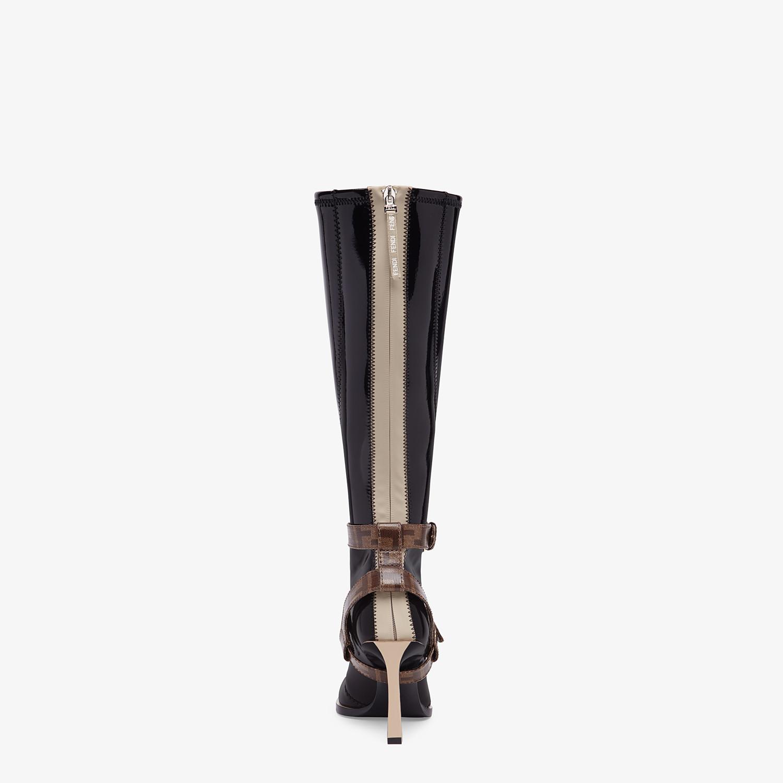 FENDI BOOTS - Glossy black neoprene boots - view 3 detail