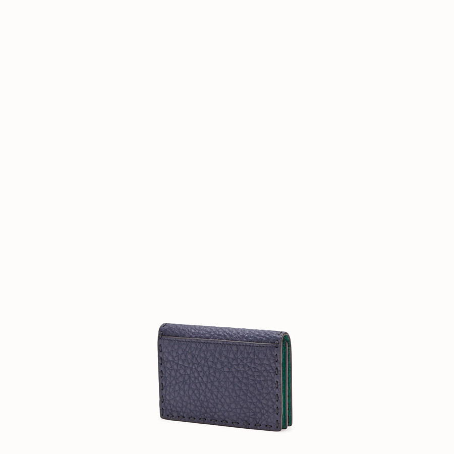 FENDI CARD HOLDER - Blue Romano leather card holder - view 2 detail