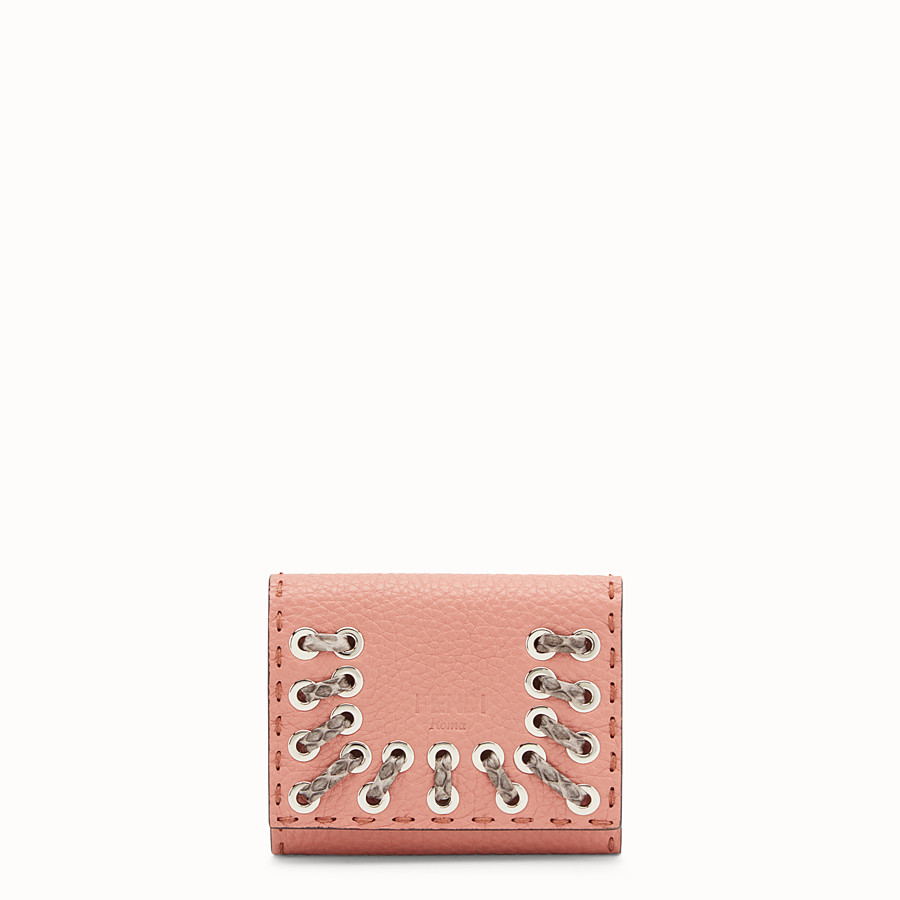 FENDI CARD HOLDER - Pink leather card-holder with exotic details - view 1 detail