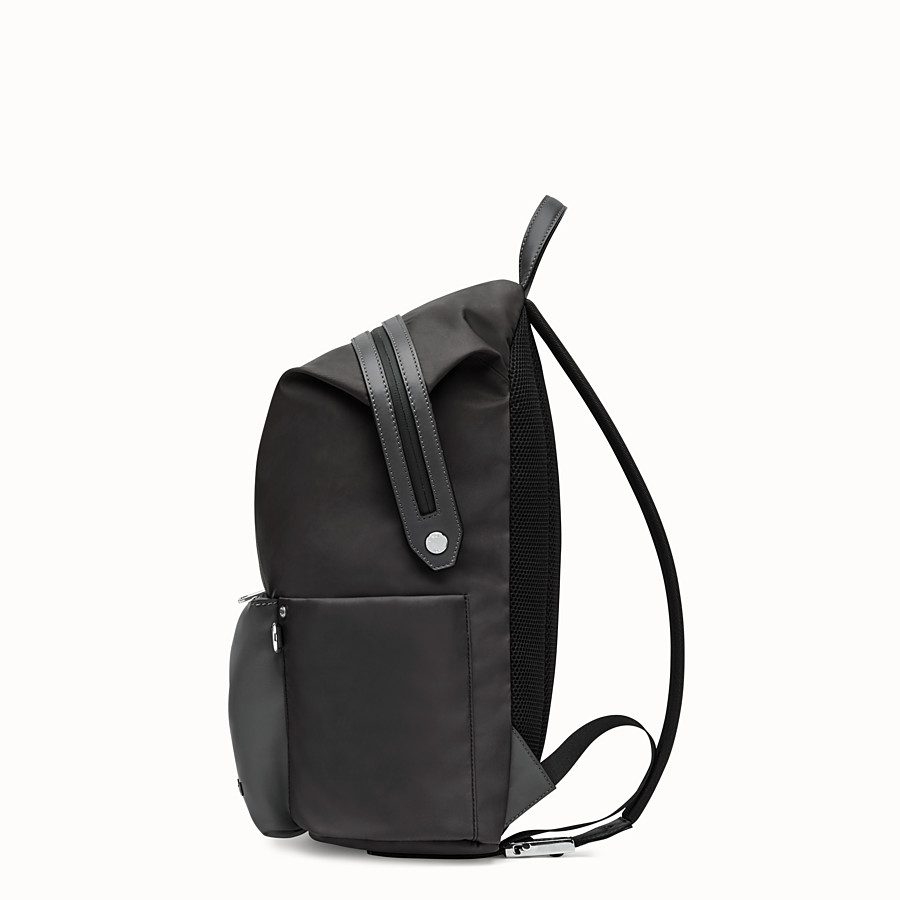 FENDI BACKPACK - Black nylon and leather backpack - view 2 detail