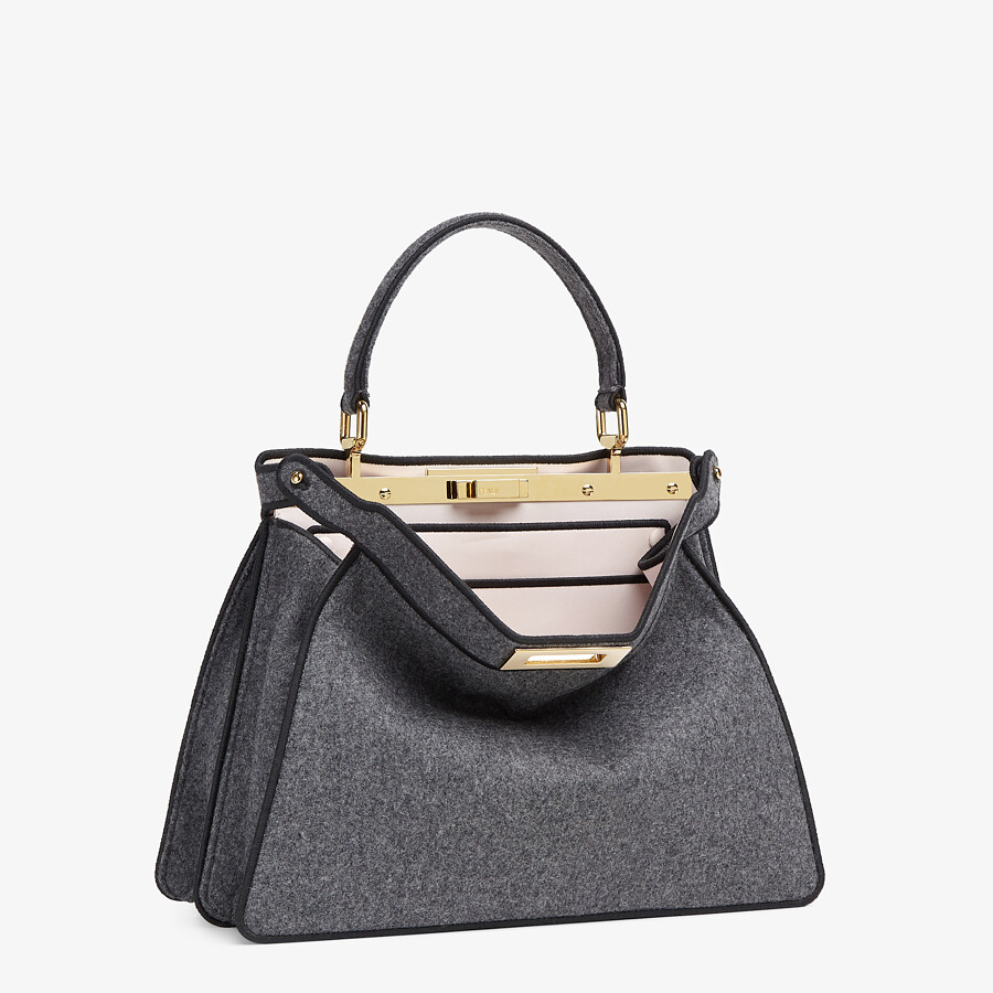 FENDI MEDIUM PEEKABOO ISEEU - Gray flannel bag - view 5 detail