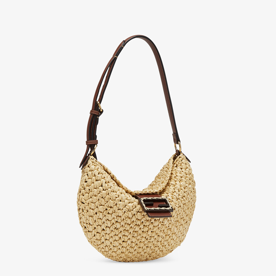 FENDI SMALL CROISSANT - Woven straw bag - view 3 detail
