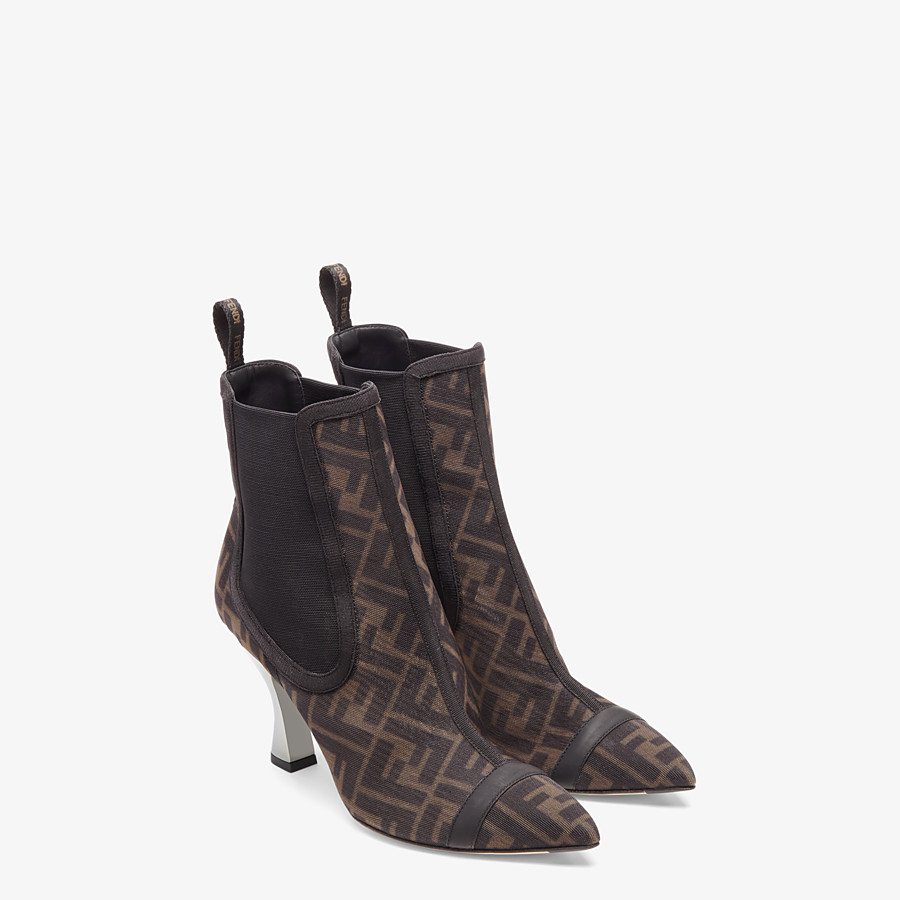FENDI COLIBRÌ - Black mesh, high-heeled ankle boots - view 4 detail