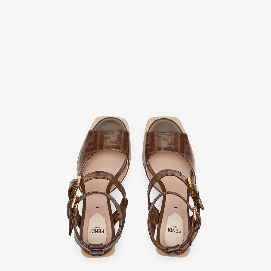 FENDI SANDALES - Sandales en tissu marron - view 4 detail