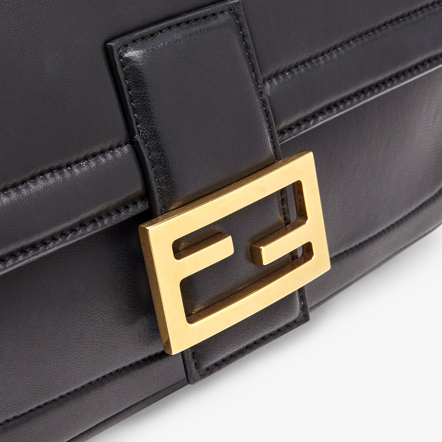FENDI BAGUETTE CHAIN - Black nappa leather bag - view 6 detail