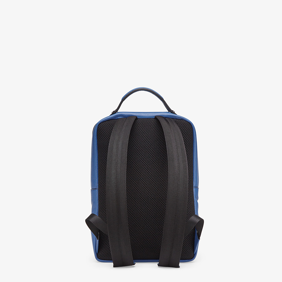FENDI BACKPACK - Blue leather backpack - view 3 detail