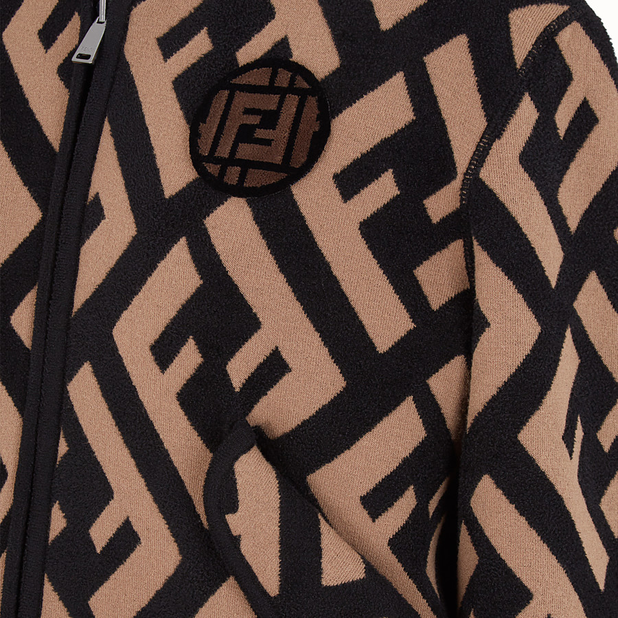 FENDI JACKET - Multicolor wool bomber jacket - view 3 detail