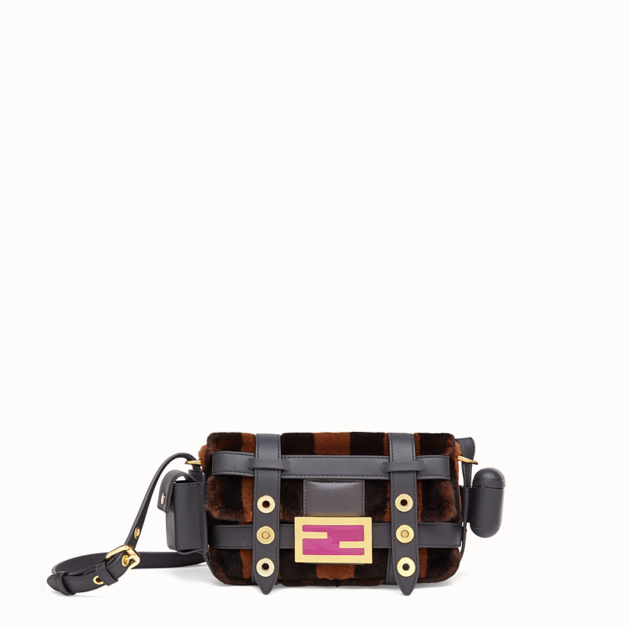 FENDI BAGUETTE MINI CAGE - Mink and black leather bag - view 1 detail