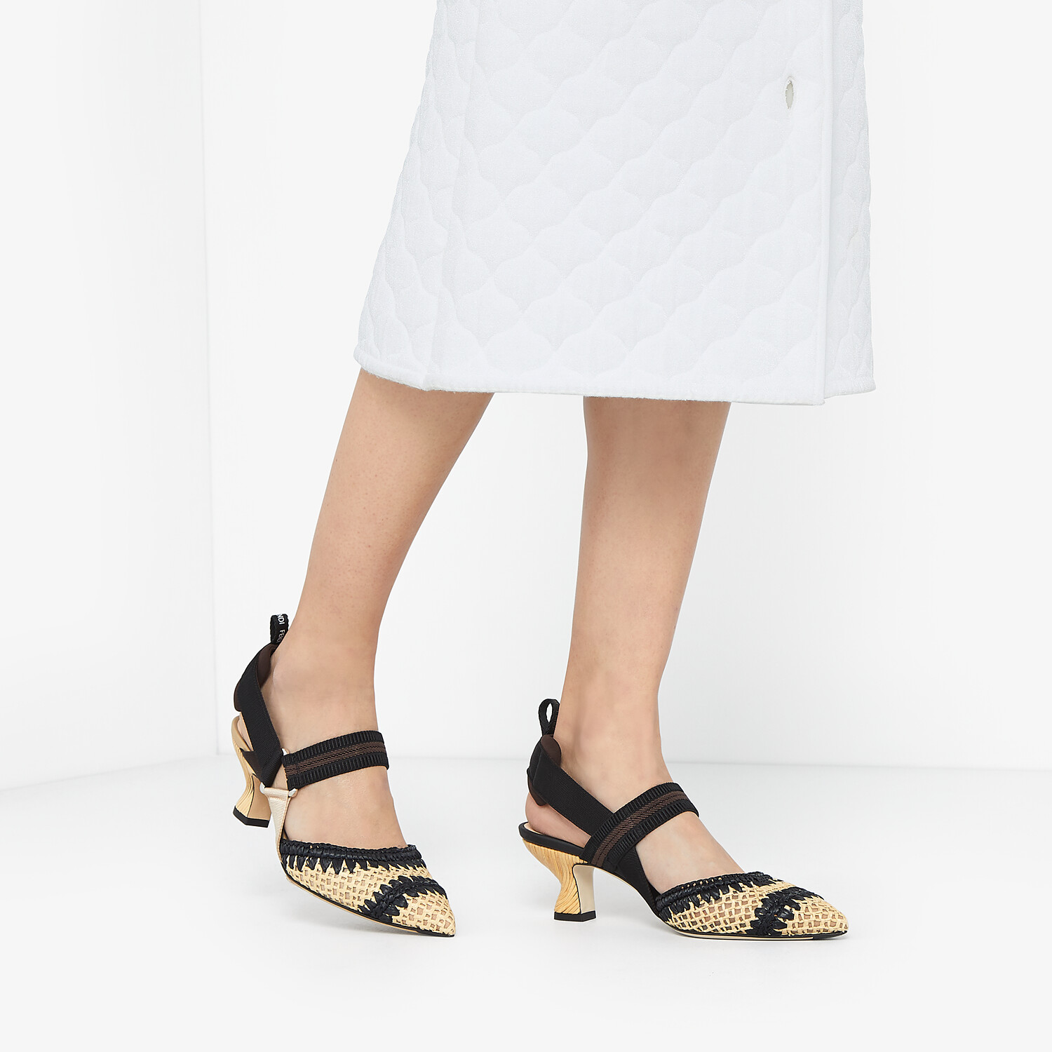 FENDI SLINGBACKS - Black raffia Colibrì slingbacks - view 5 detail