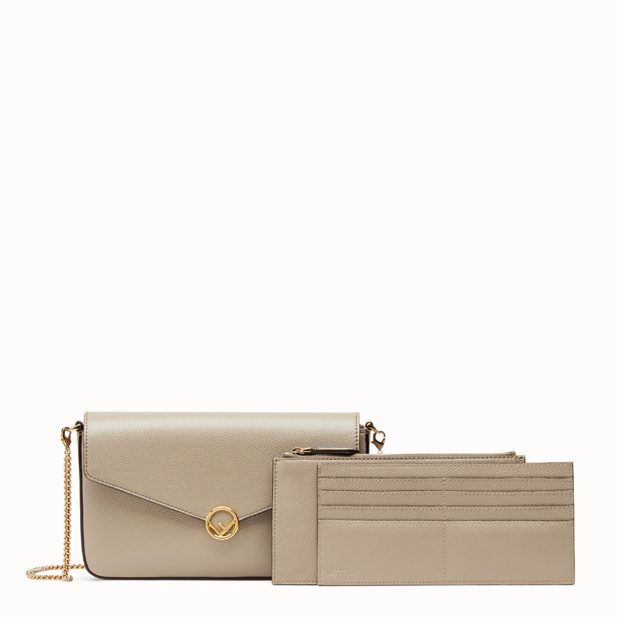 FENDI WALLET ON CHAIN WITH POUCHES - Beige leather minibag - view 3 detail