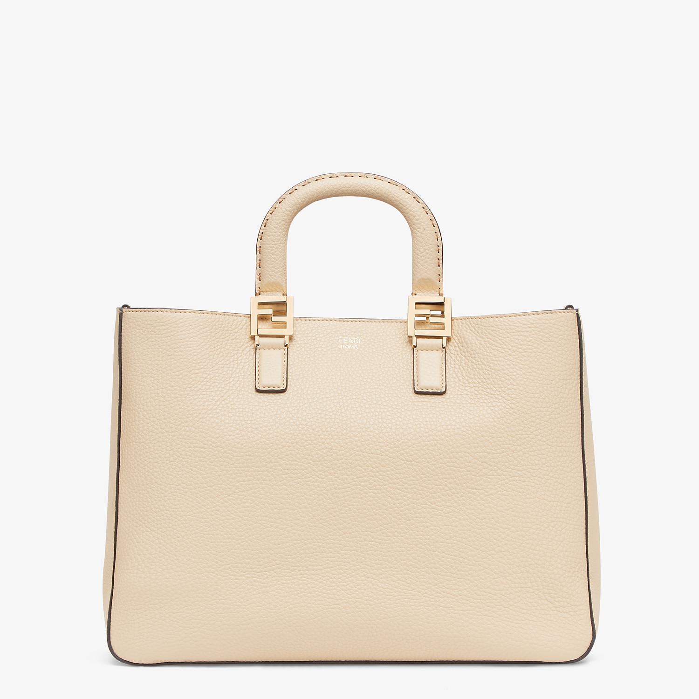 FENDI FF TOTE MEDIUM - Beige leather bag - view 1 detail