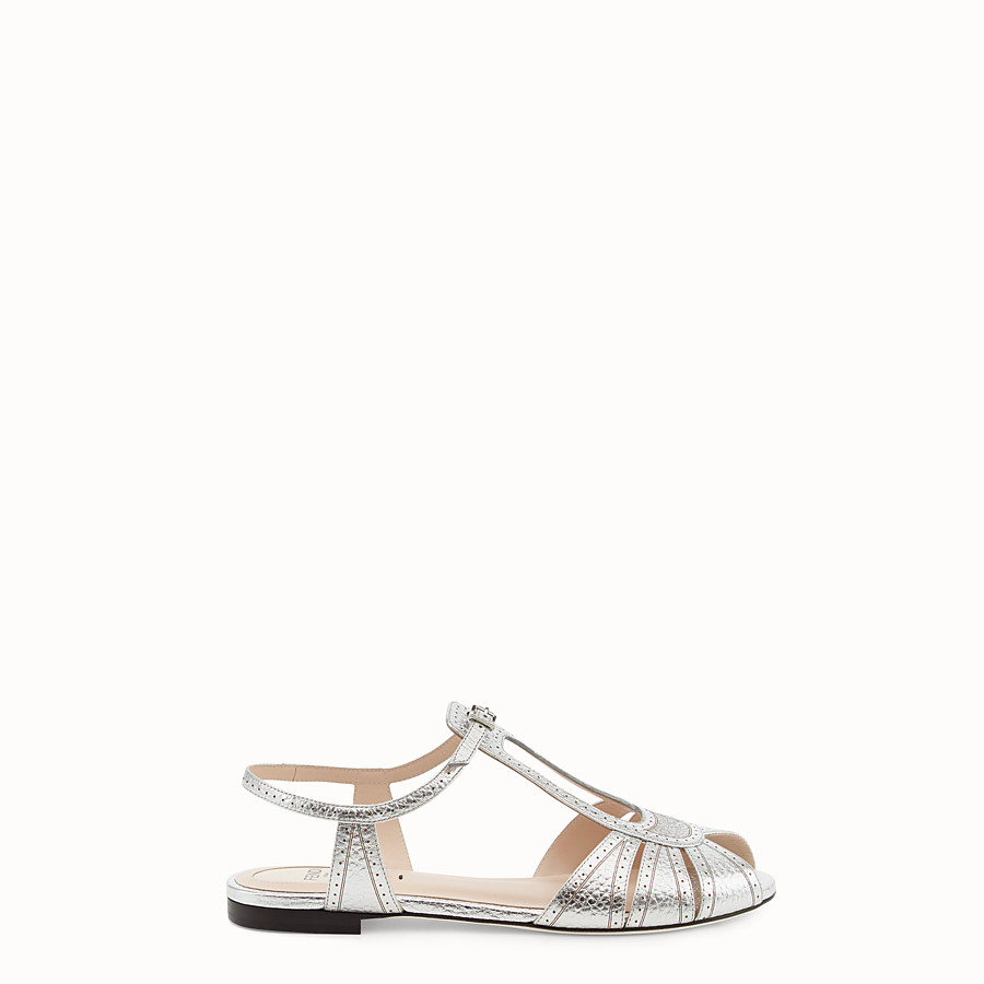 FENDI SANDALS - Silver leather flats - view 1 detail