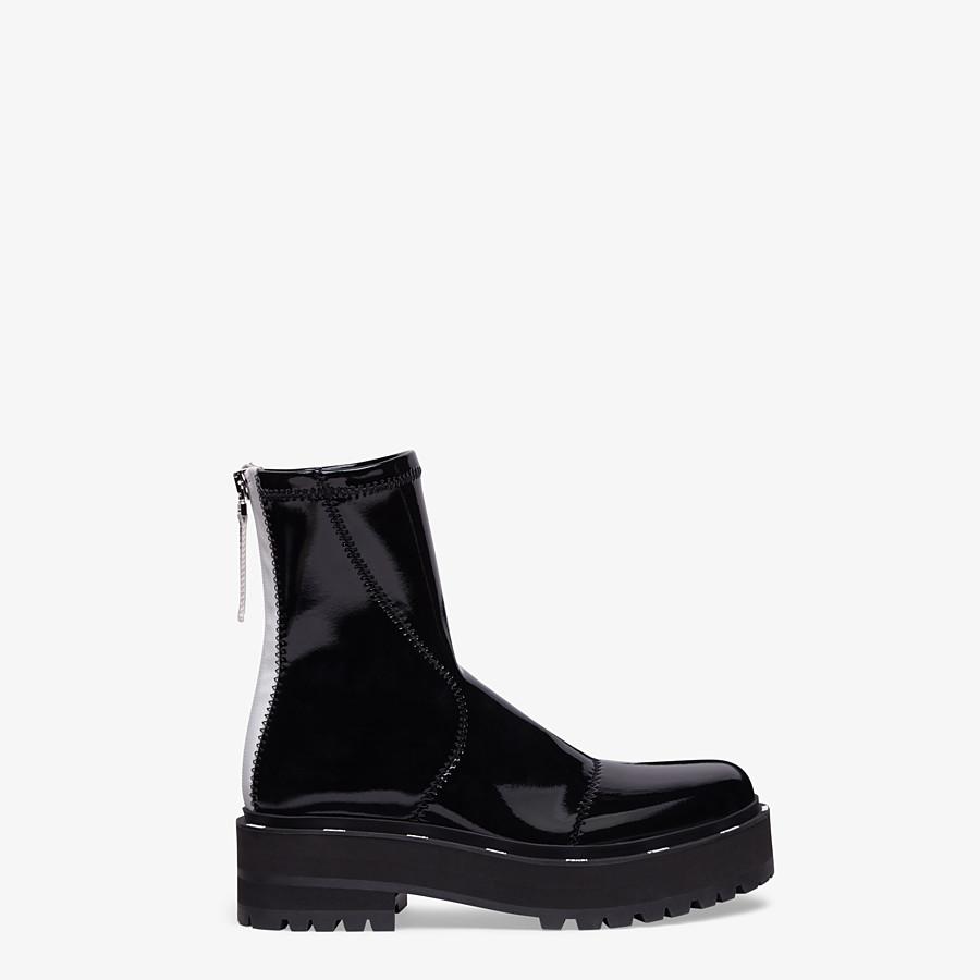 FENDI ANKLE BOOTS - Glossy black neoprene biker boots - view 1 detail