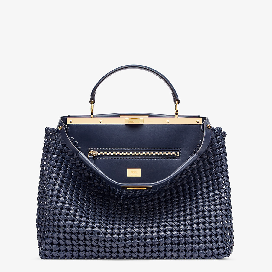 FENDI PEEKABOO ICONIC LARGE - Blue leather interlace bag - view 1 detail