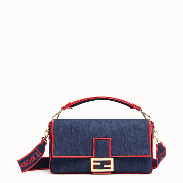 FENDI BAGUETTE LARGE - Borsa in denim blu - vista 1 thumbnail piccola