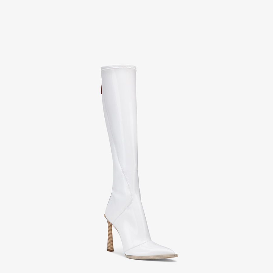 FENDI BOOTS - Boot in glossy, white neoprene - view 2 detail
