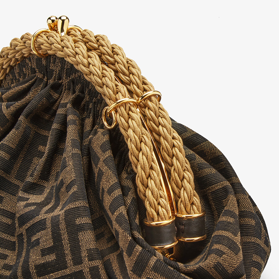 FENDI SHELL - Brown FF fabric pochette - view 6 detail