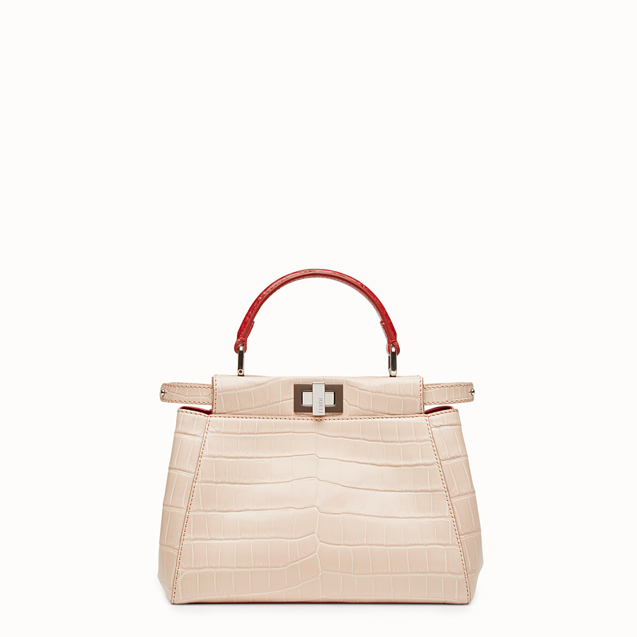 FENDI PEEKABOO MINI - Pink crocodile leather handbag. - view 1 detail