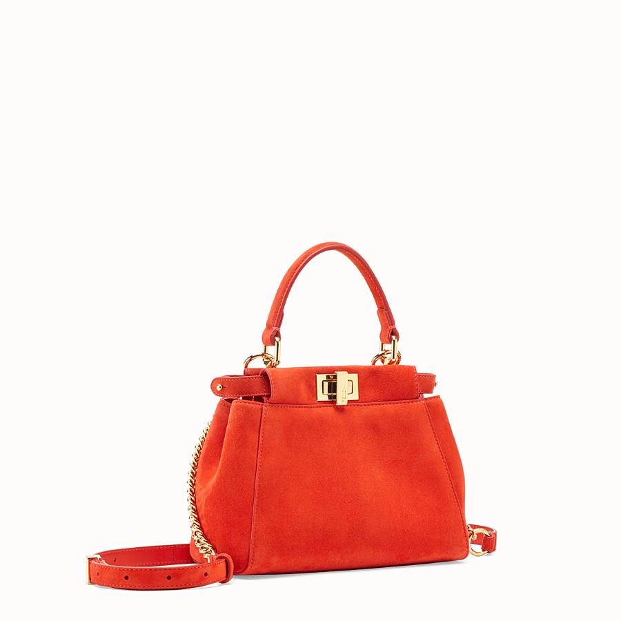 FENDI PEEKABOO ICONIC XS - Red suede minibag - view 3 detail
