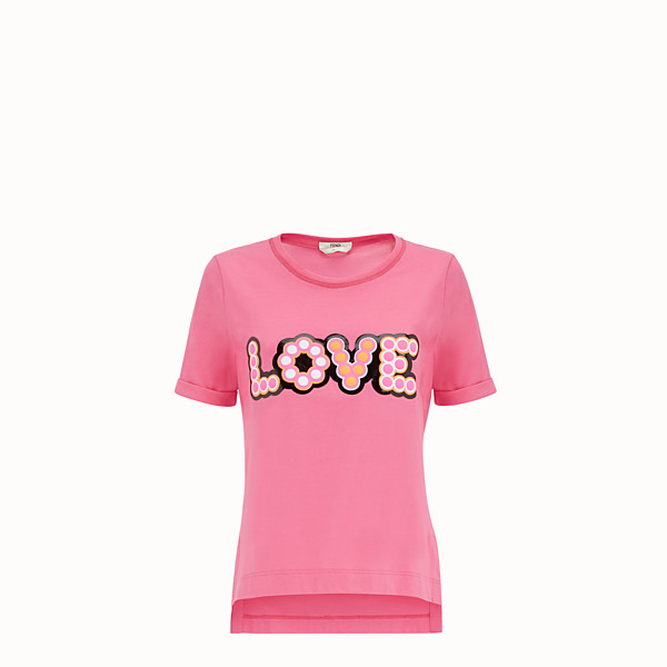 FENDI T-SHIRT - Fuchsia cotton T-shirt - view 1 small thumbnail