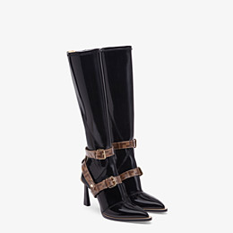 FENDI BOOTS - Glossy black neoprene boots - view 4 thumbnail