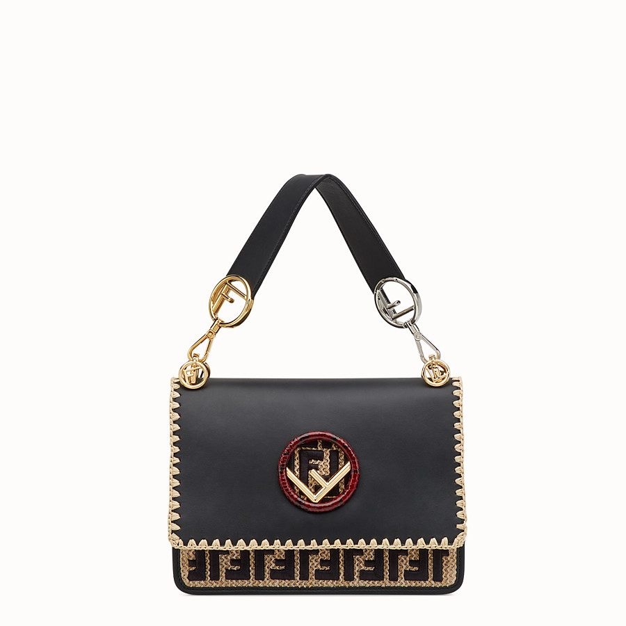FENDI KAN I F - Black leather bag with exotic details - view 1 detail