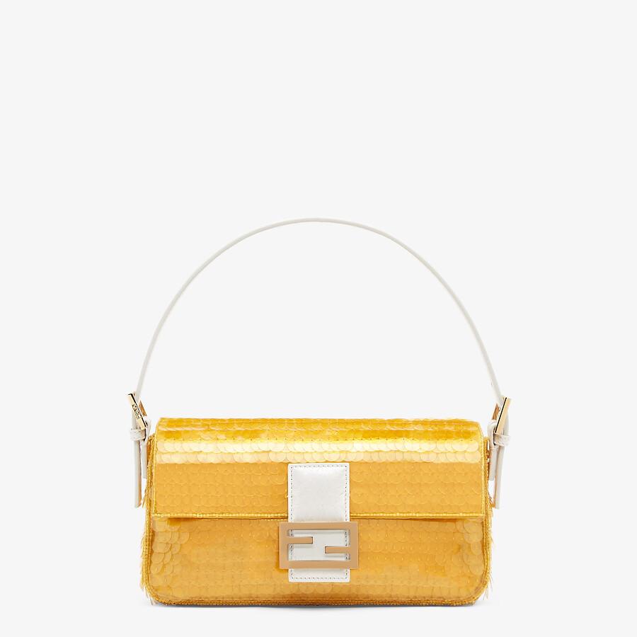 FENDI BAGUETTE 1997 - Yellow satin bag with sequins - view 1 detail