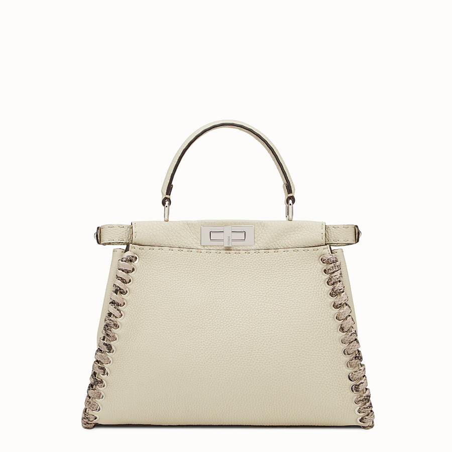 FENDI PEEKABOO REGULAR - Bolso de mano Selleria blanco con trenzado - view 3 detail