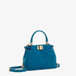 FENDI PEEKABOO ICONIC XS - Mini-Tasche aus blauem Veloursleder - view 3 thumbnail