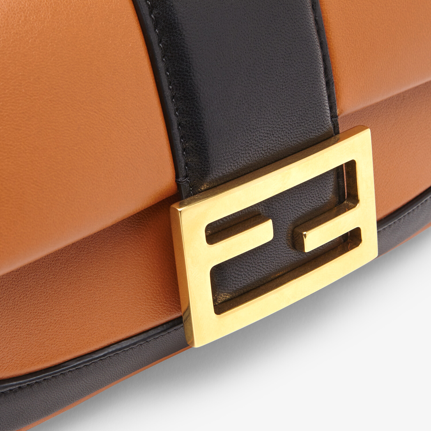 FENDI MINI BAGUETTE CHAIN - Brown and black nappa leather bag - view 6 detail