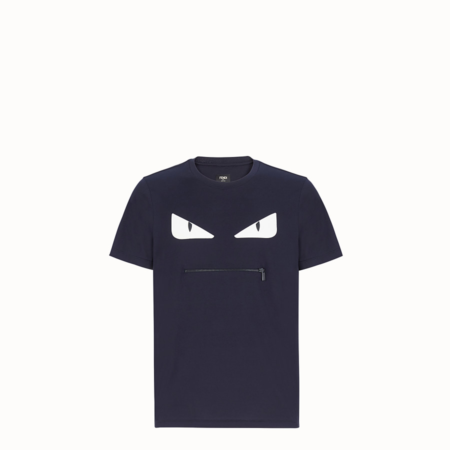 FENDI T-SHIRT - Blue cotton T-shirt - view 1 detail