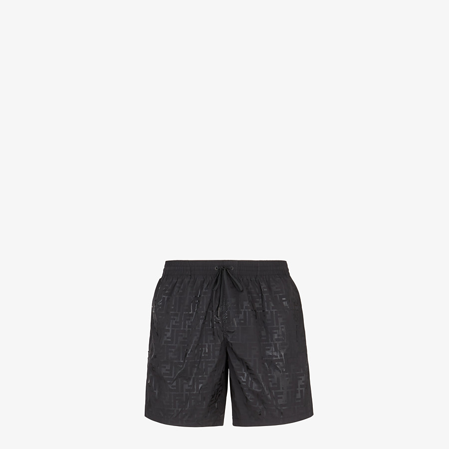 FENDI SWIM SHORTS - Black nylon swim shorts - view 4 detail