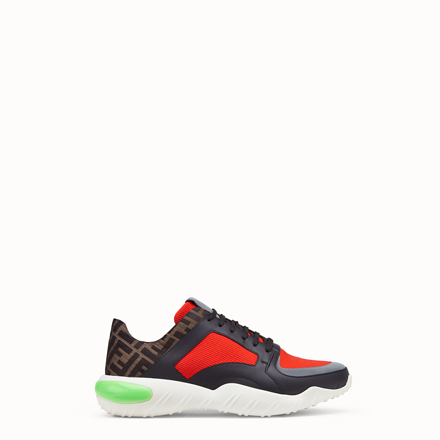 FENDI SNEAKERS - Red tech fabric low-tops - view 1 detail