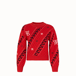 FENDI PULLOVER - Red cashmere jumper - view 1 thumbnail