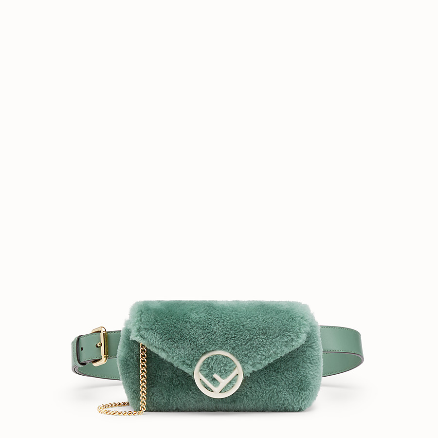 FENDI BELT BAG - Green sheepskin belt bag - view 1 detail