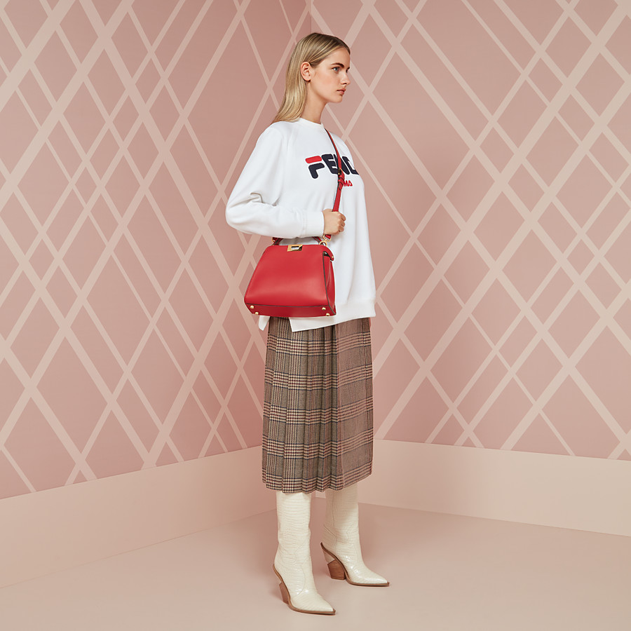 FENDI PEEKABOO ESSENTIALLY - Red leather bag - view 5 detail