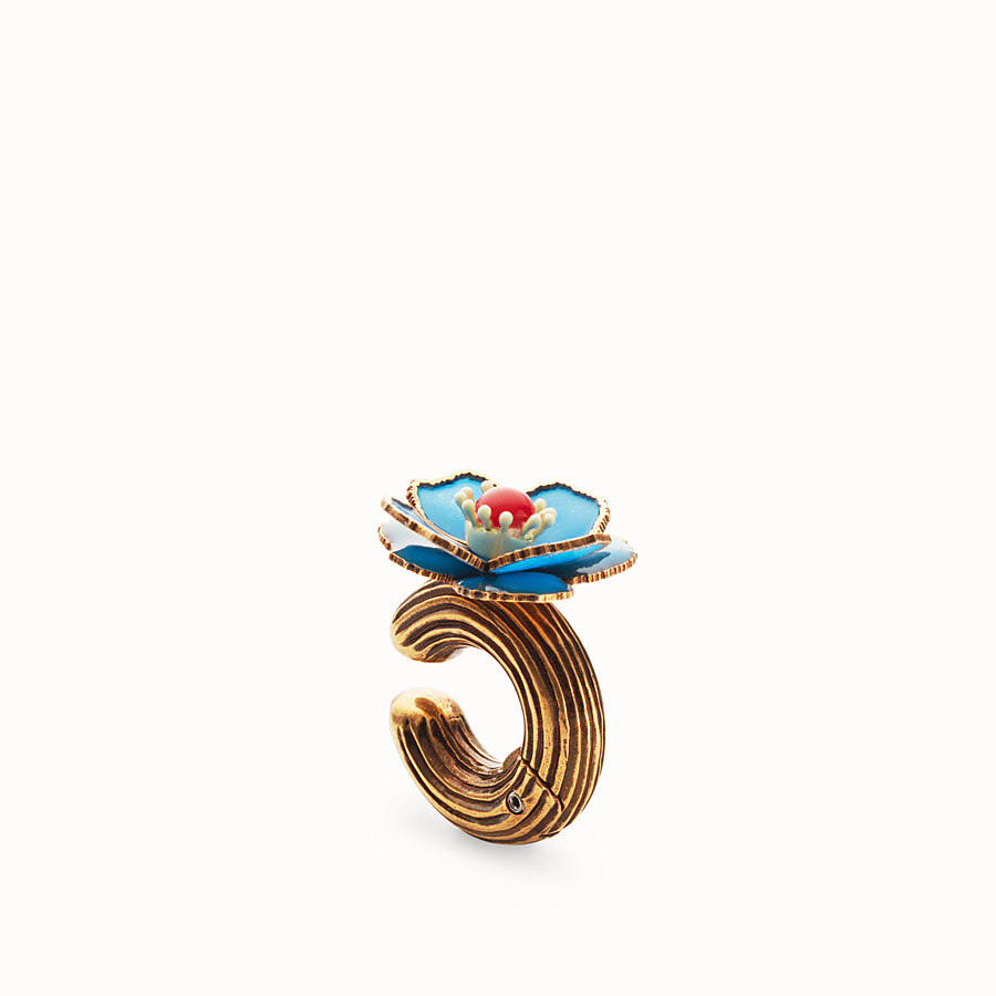 FENDI FLOWERS EARRINGS - Blue enameled earrings - view 1 detail