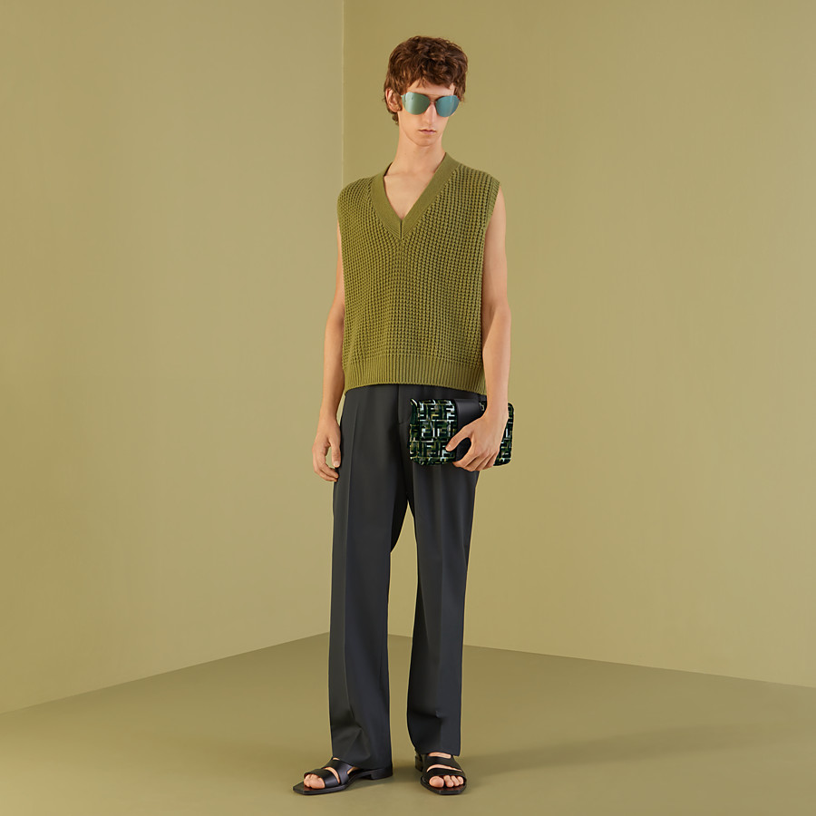 FENDI TROUSERS - Grey twill trousers - view 4 detail