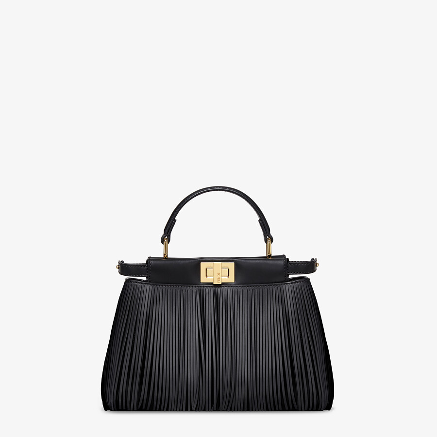 FENDI PEEKABOO ICONIC MINI - Black leather bag with fringes - view 1 detail