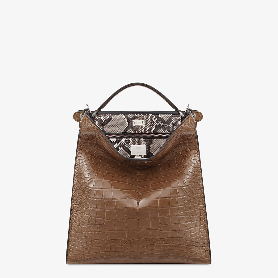 FENDI PEEKABOO X-LITE FIT - Brown alligator bag - view 2 detail